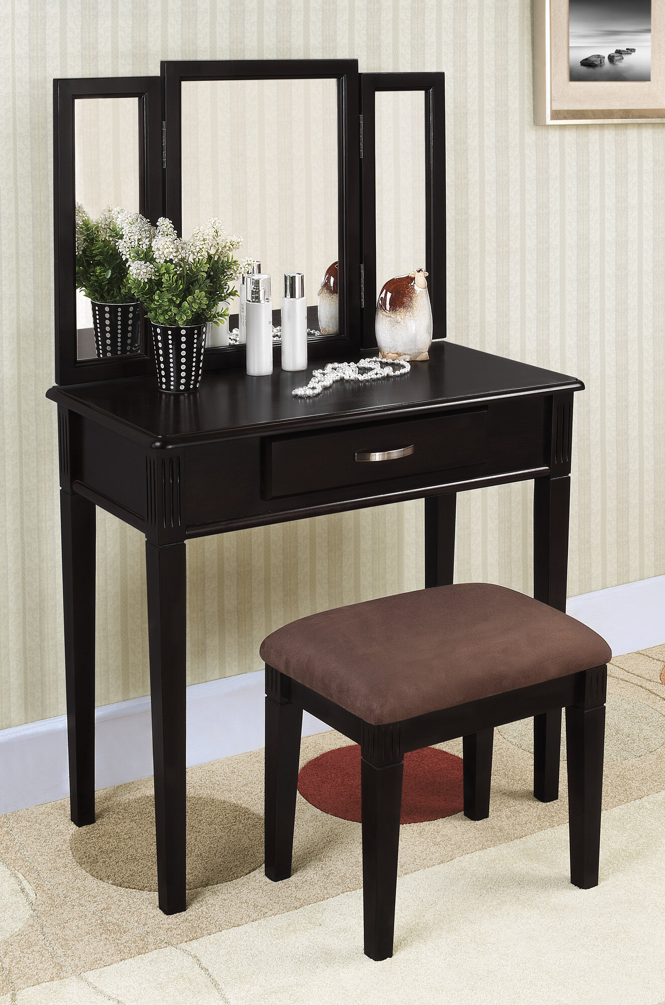 Williams Tri Folding Mirror Black Wood Vanity Set Make Up Table Dresser W Sto