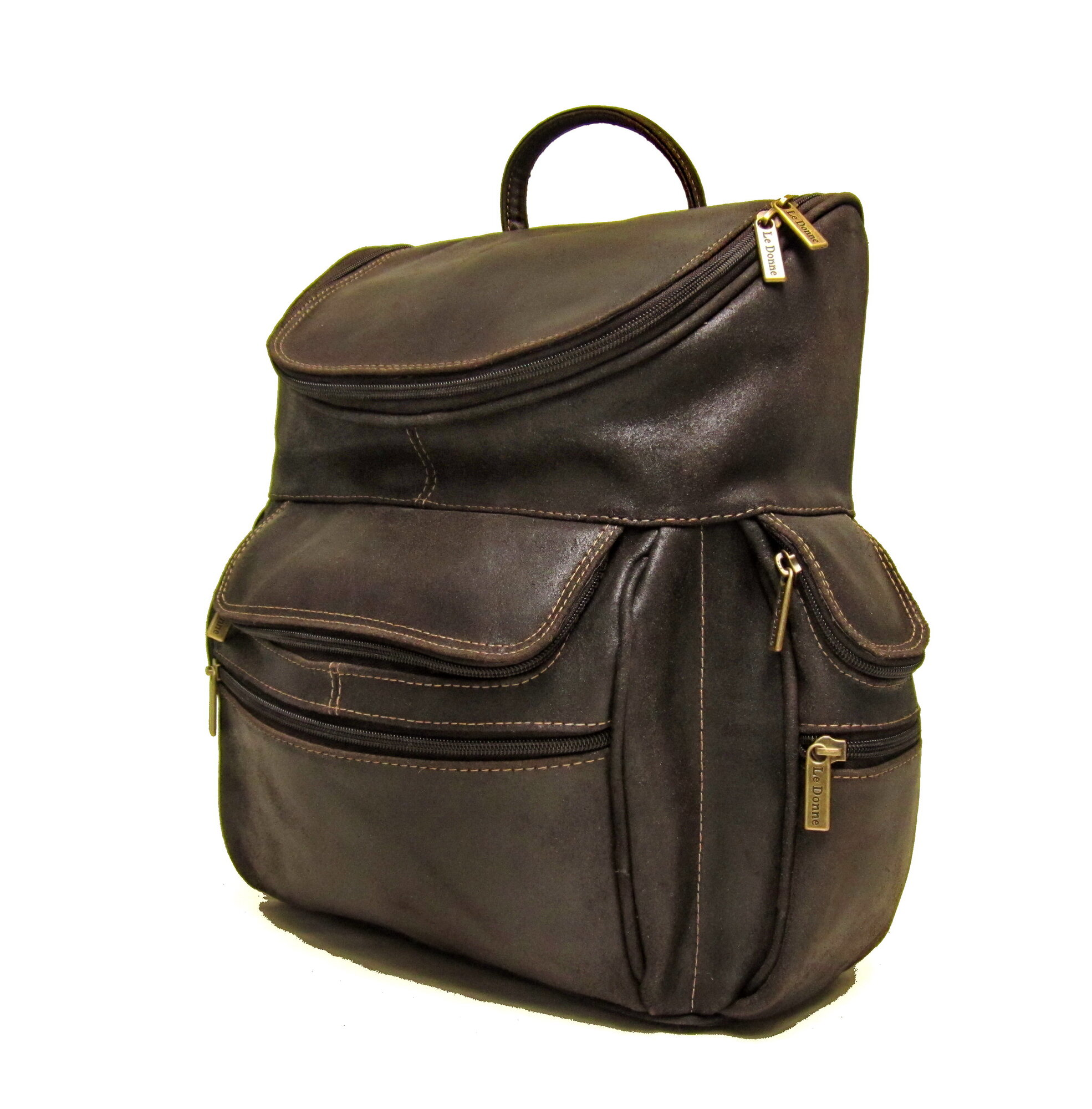 Le Donne Distressed Leather Laptop Backpack
