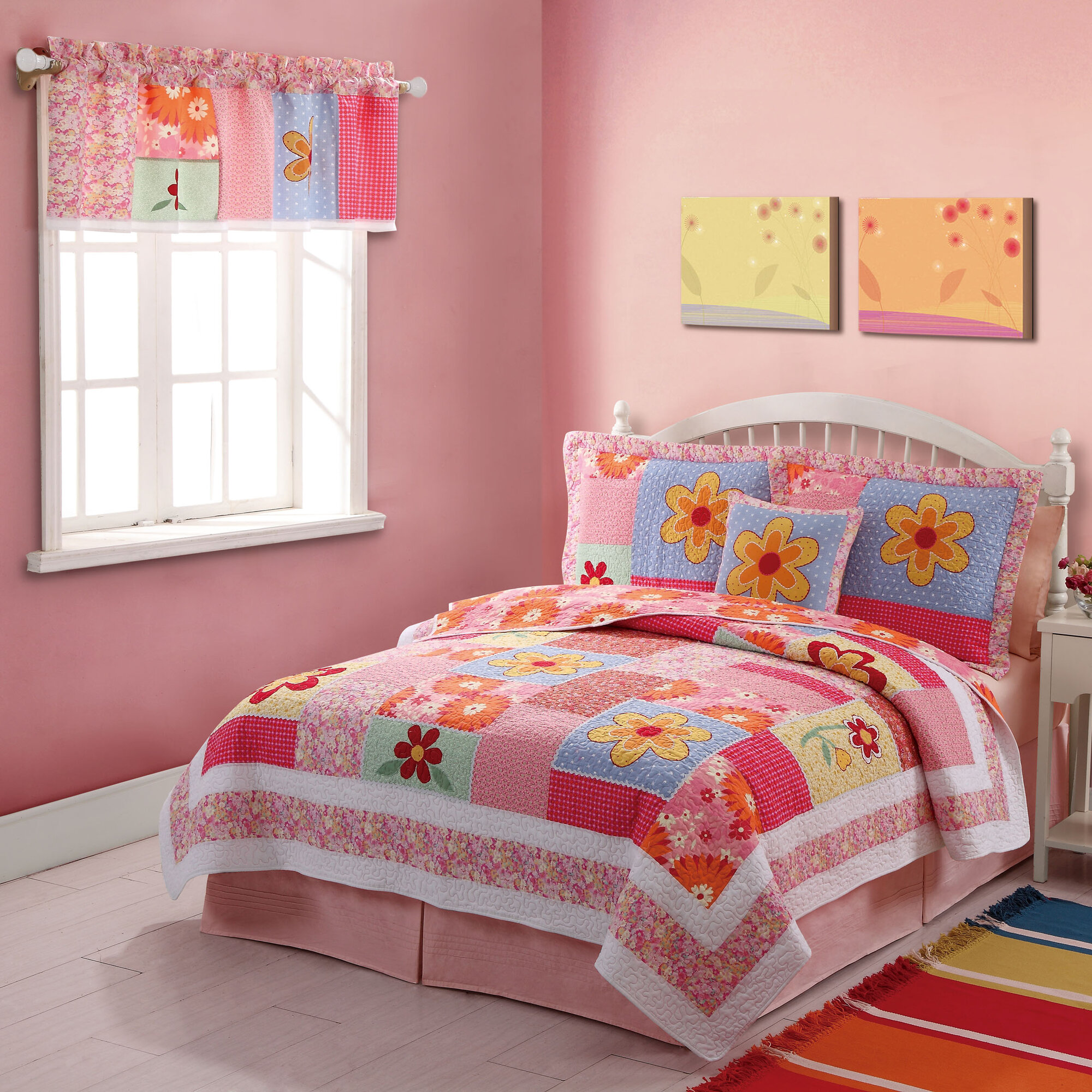 pink orange floral quilt bedding set
