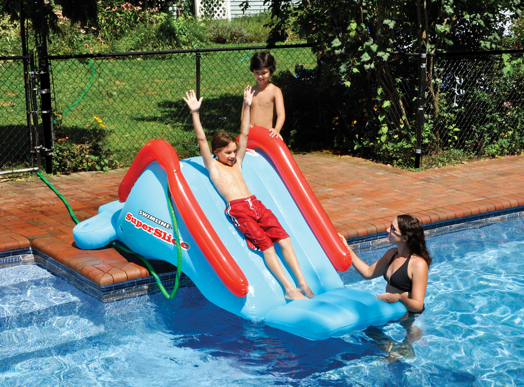 Inflatable water slide swimming bounce bouncer slider pool - Commercial swimming pool water slides ...