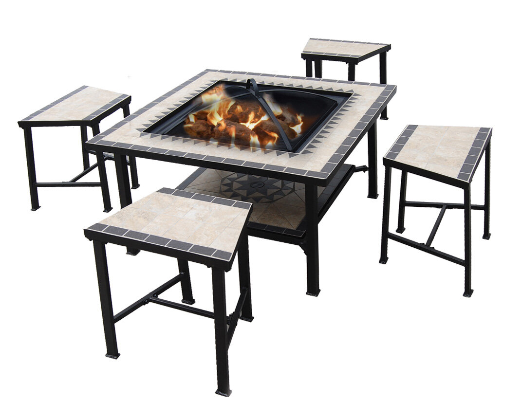 5 Piece Dinning Set Tile Patio Furniture Fire Pit Pool Party Cooler Table Chair Ebay