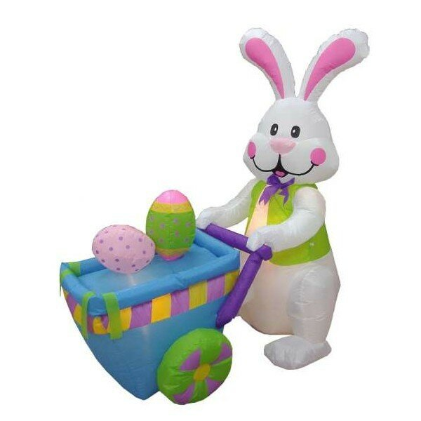 Inflatable Rabbit Pushing Cart with Eggs Decoration