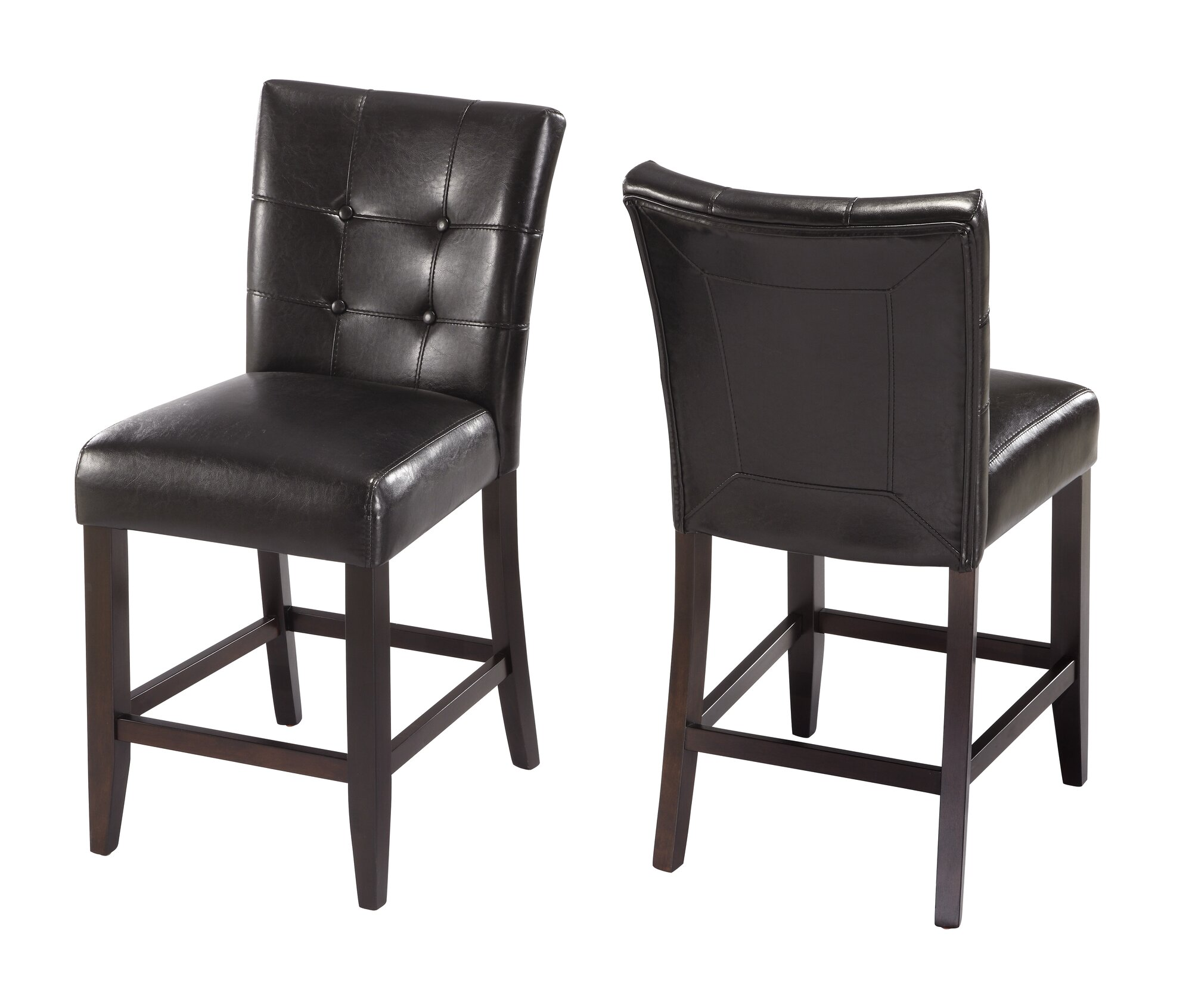 Counter Height 24 Stools Black Set of 2 Dining Chairs
