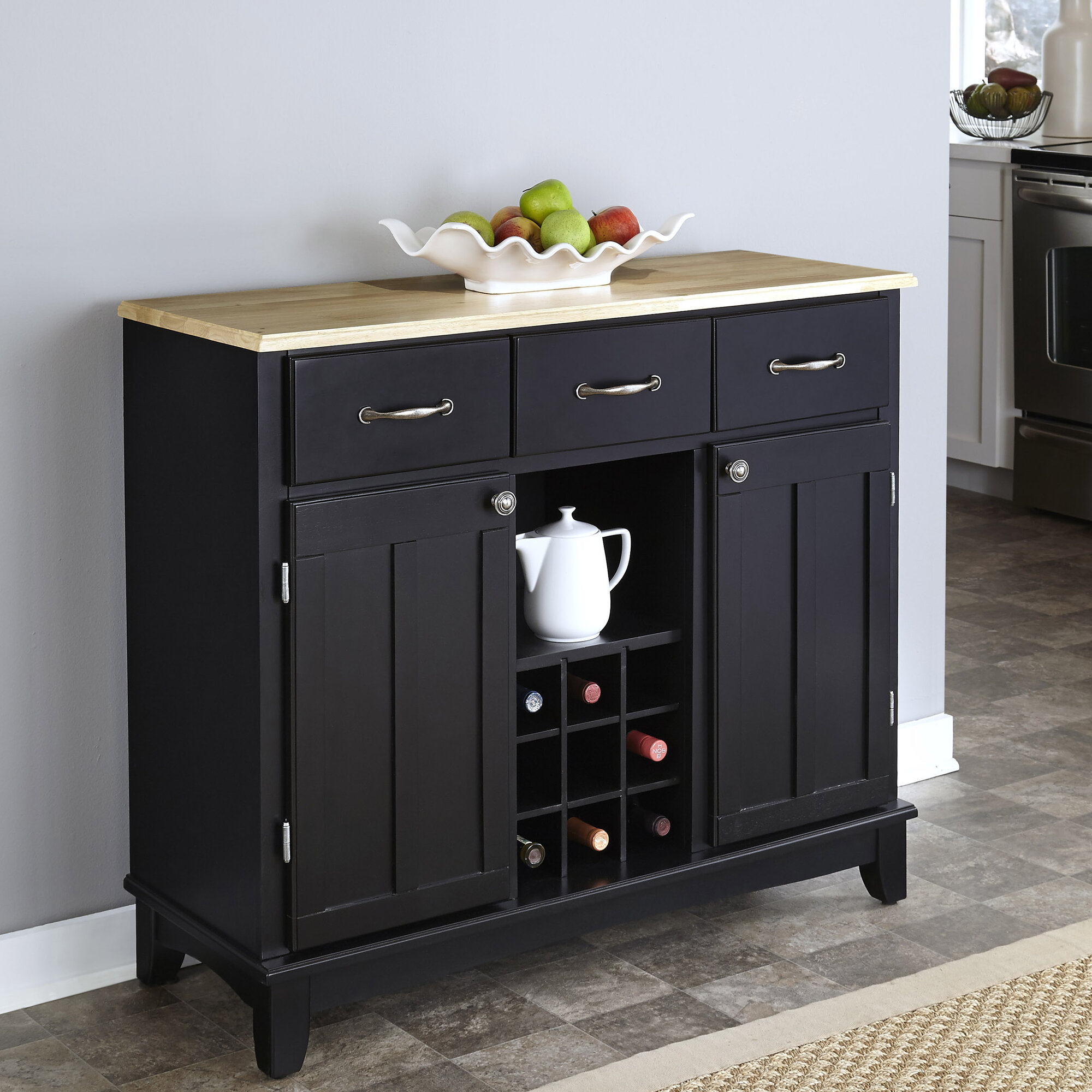 Sideboard buffet server dining room cabinet wine rack storage furniture black ebay - Dining room server furniture ...