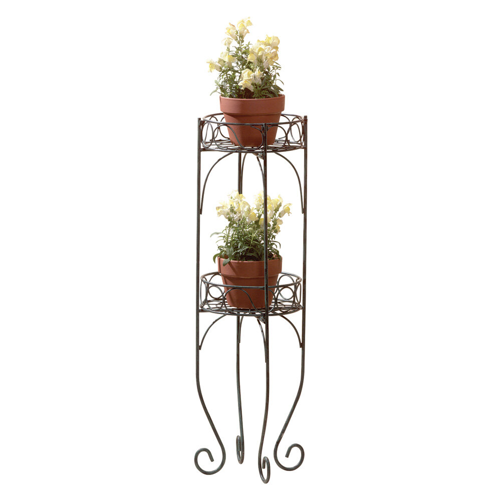 new metal scroll design pot plant shelf stand 2 tier