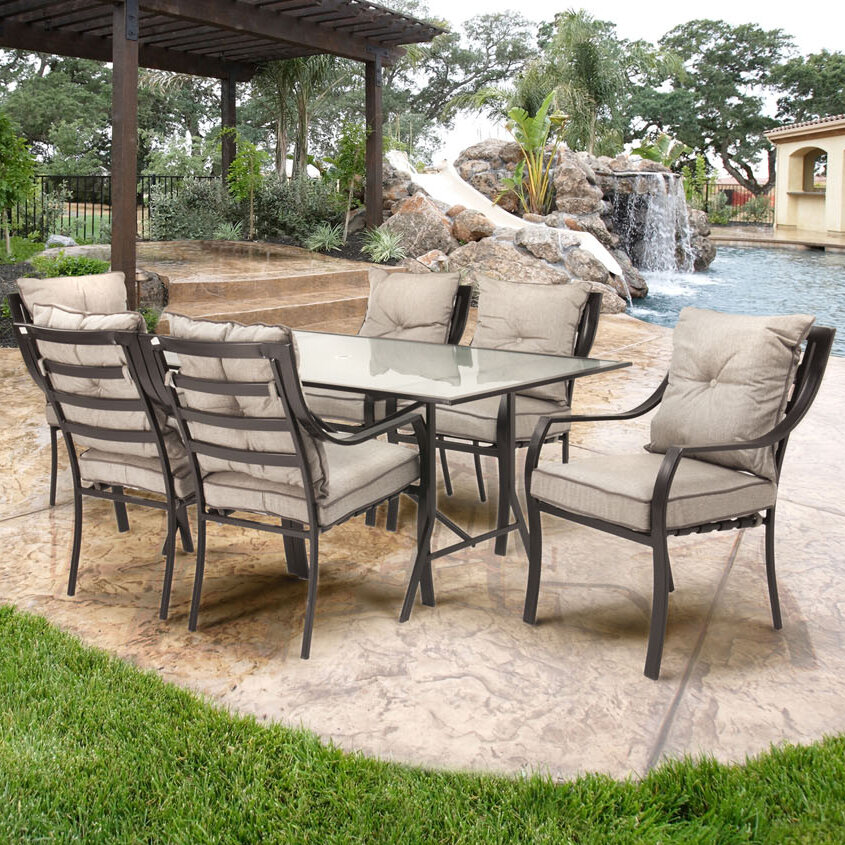 New 7 piece outdoor dining set furniture table amp 6 for Outdoor furniture 7 piece