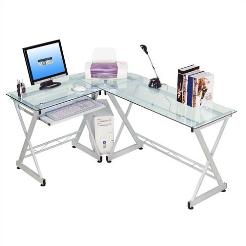 Contemporary Tempered Glass L Computer Desk With Pull-out Keyboard