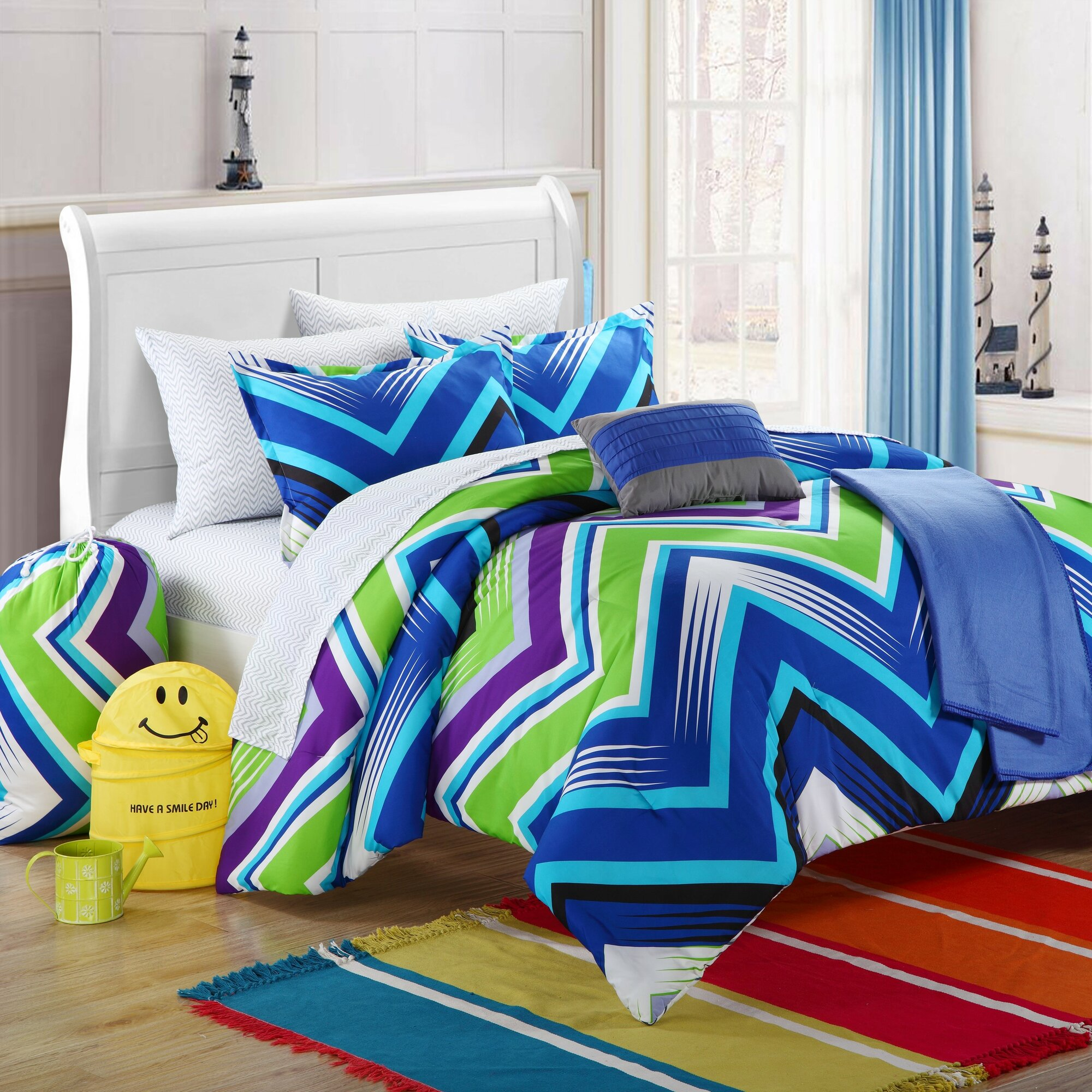 Blue purple and lime green chevron bedding set