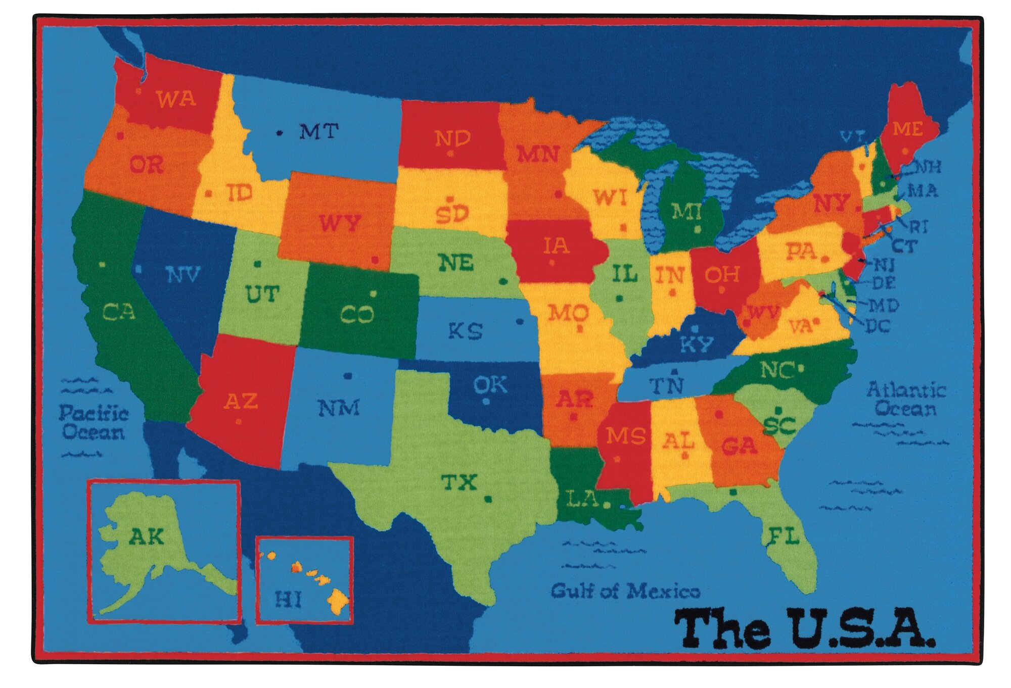 USA 50 States Kids Area Rug. State Abbreviation