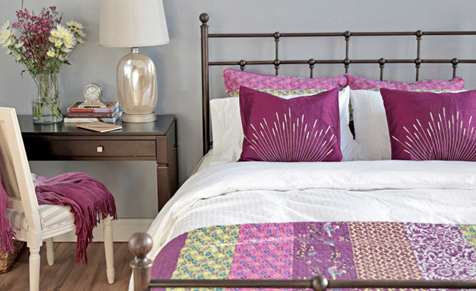 radiant orchid inspired bedroom