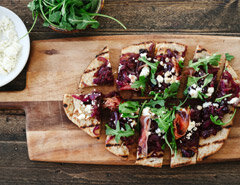 Caramelized Onion, Feta, and Ham Flatbread