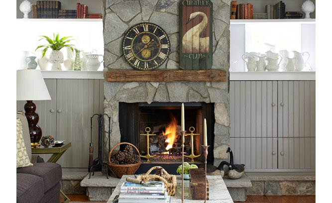 seaside cottage fireplace