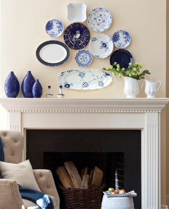 dishes mantel decorating