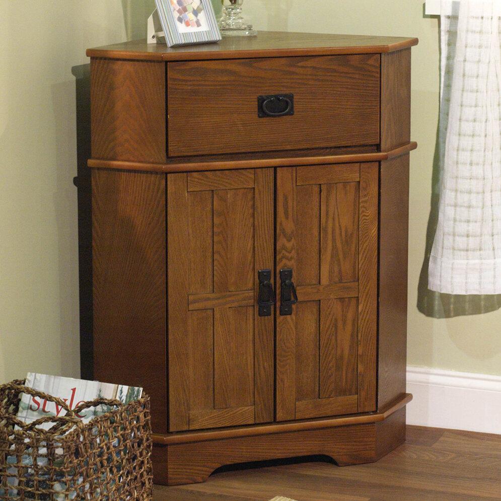 Corner cabinet mission style oak finish 2 doors 1 drawer for Mission style corner hutch