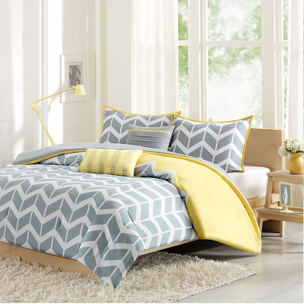 yellow and gray chevron bedding