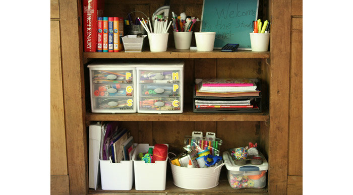 kids desk storage