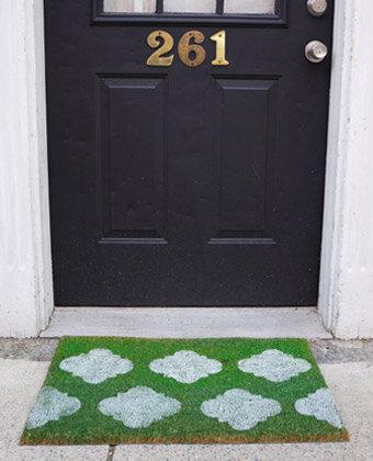 quatrefoil doormat DIY