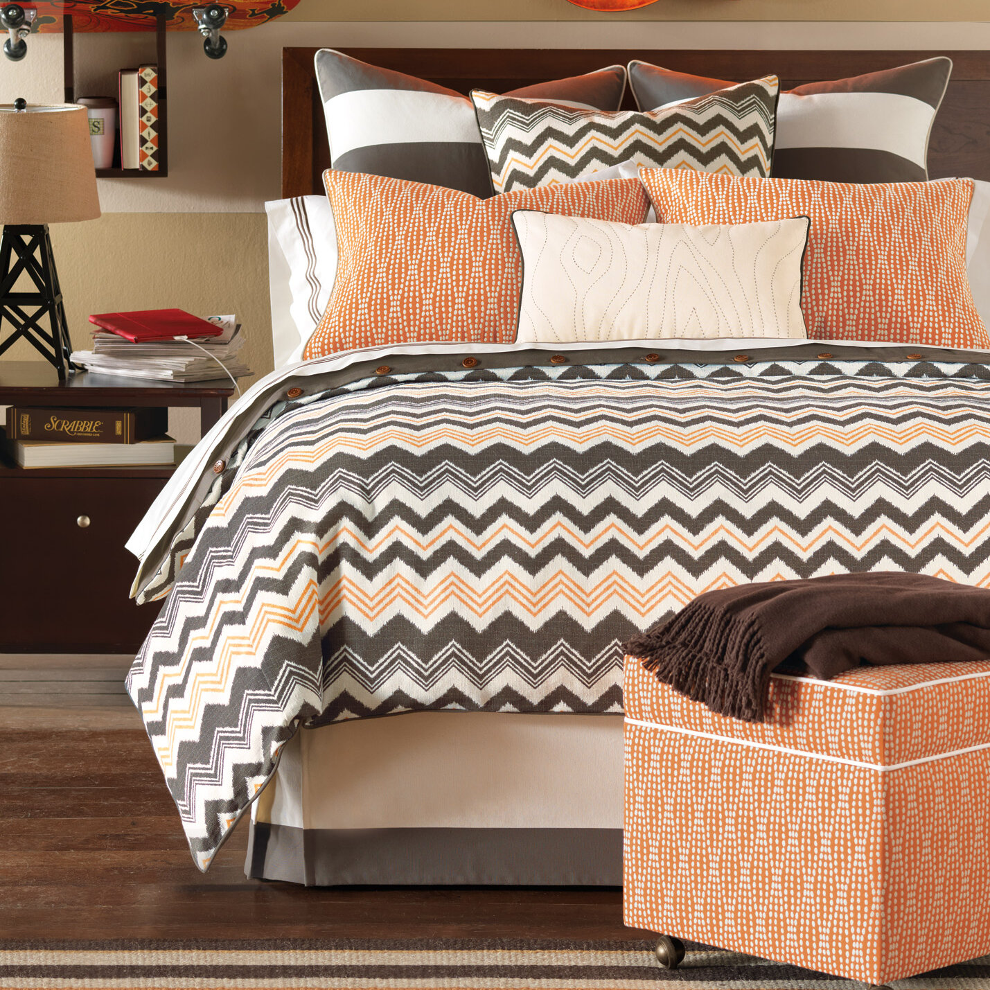 Brown and orange bedding - Eastern Accents Dawson Duvet Collection Chevron