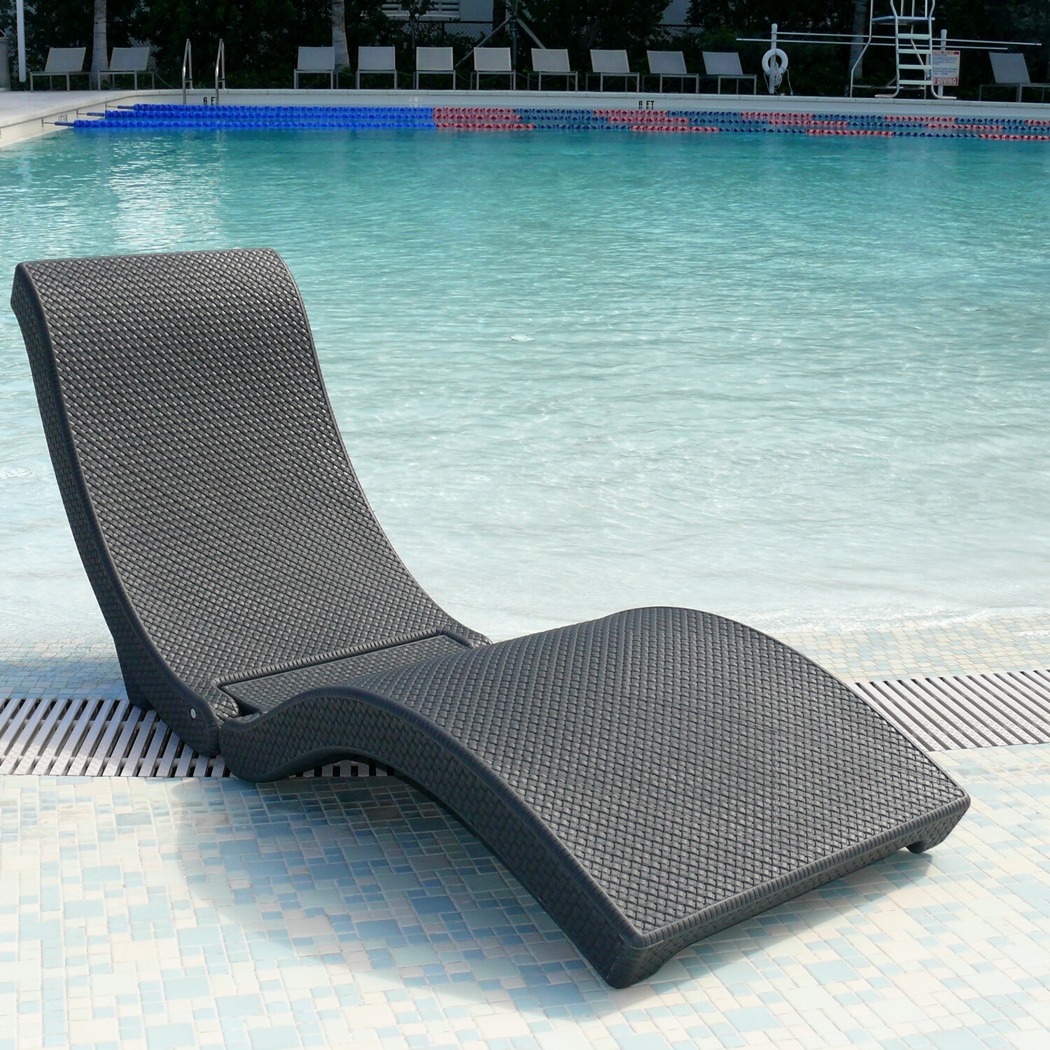Charcoal The Splash Chaise Lounge Chair Outdoor Beach Sun Lawn Patio Pool New