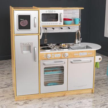 Kidkraft uptown kitchen pretend play kids wooden natural for Kidkraft modern country kitchen 53222