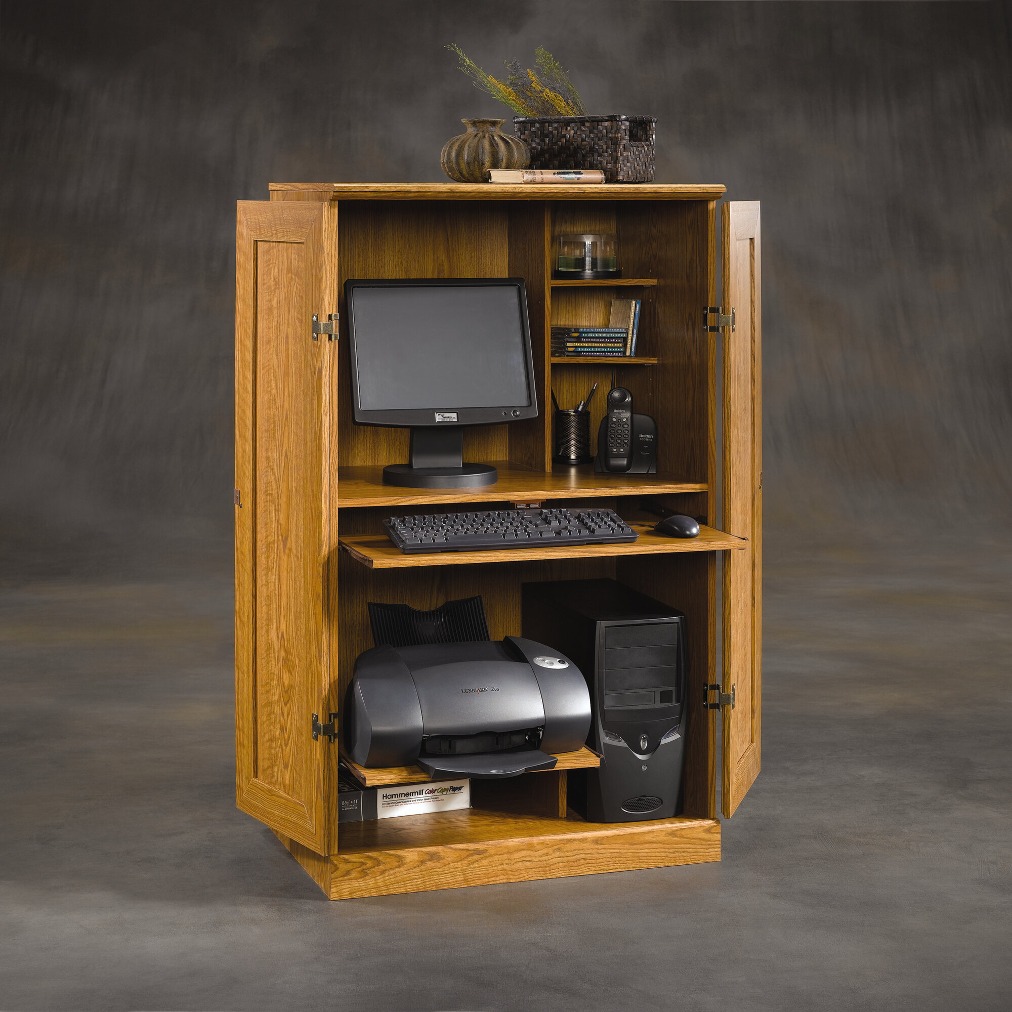 Desk Cabinet: Space Saver Wood Computer Cabinet Armoire Desk Home Office