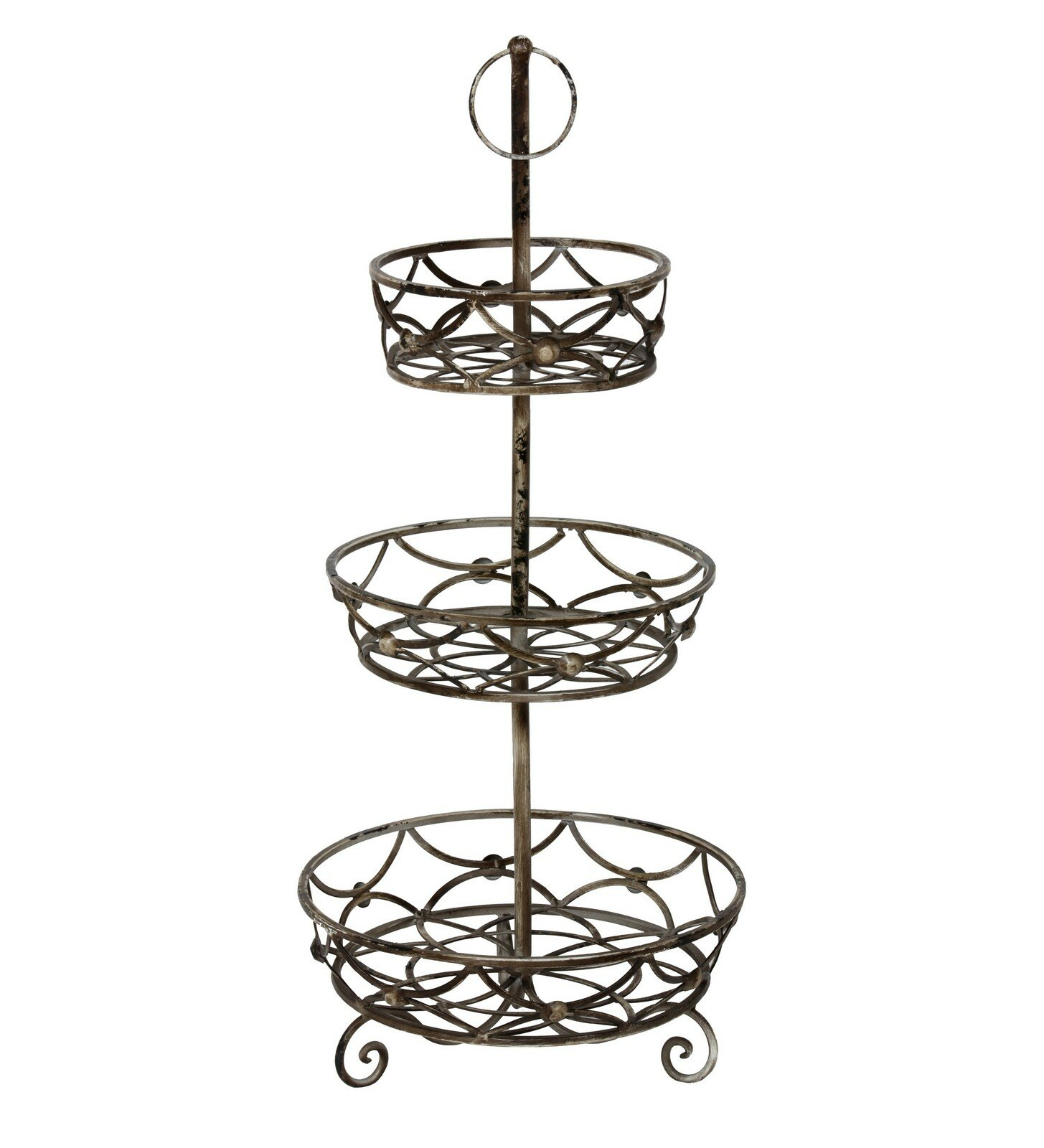 new iron 3 tier scroll basket stand 30 decorative metal fruit veggie storage ebay. Black Bedroom Furniture Sets. Home Design Ideas