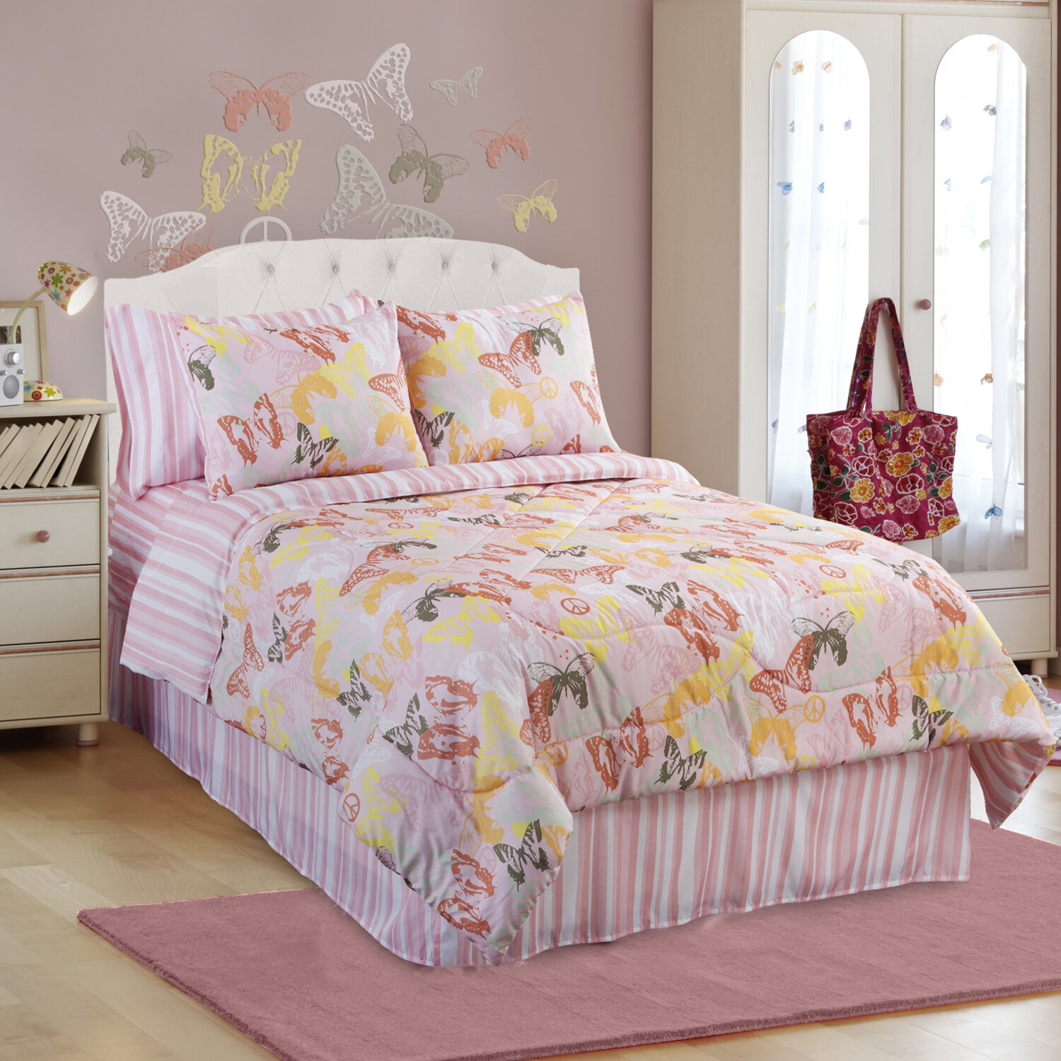 pink orange butterfly bedding