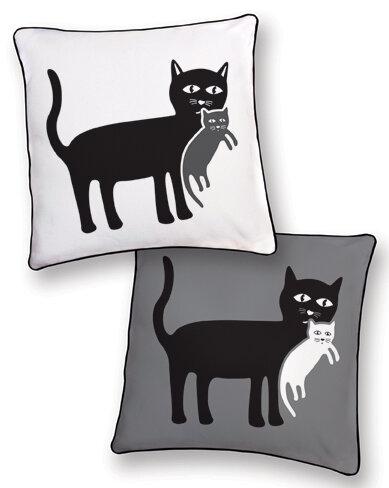 Naked decor animal instinct cat and kitten reversible pillow