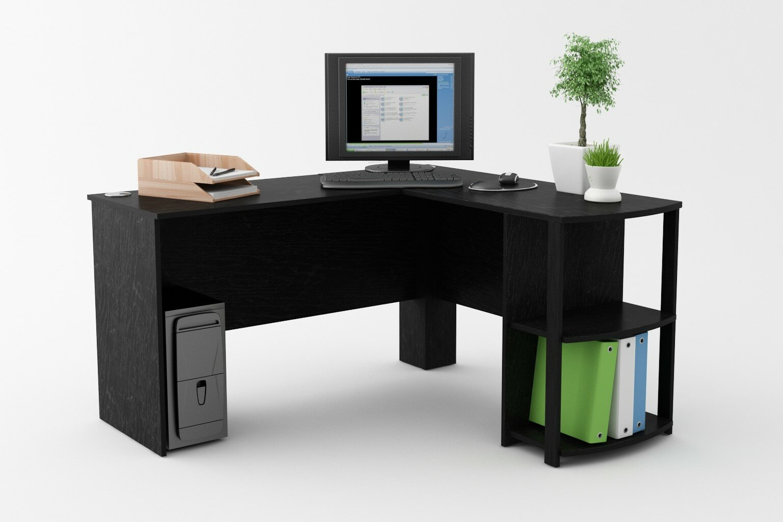 L Shaped Corner Desk Workstation Computer Home Office Executive