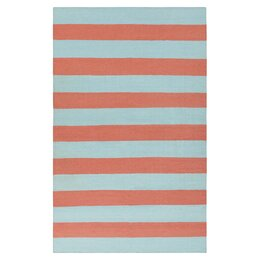 Draper Stripe Azure & Coral Rug