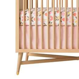 Solid Pink Canvas Crib Skirt