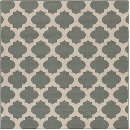 Modern Trellis Pewter Outdoor Rug
