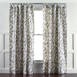 Winter Crane Linen Curtain Panels