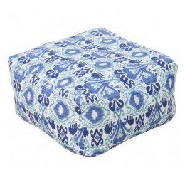 Ikat Blue Outdoor Pouf
