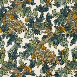 Ming Dragon Fabric - Midnight