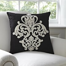 Leah Cotton Pillow Cover, Black & White