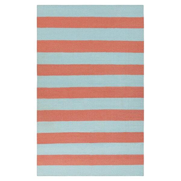 DwellStudio Draper Stripe Azure & Coral Rug