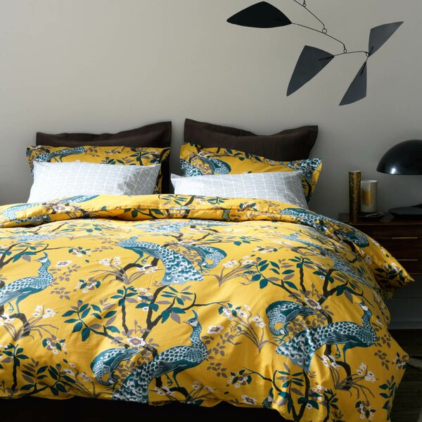 DwellStudio Peacock Citrine Duvet Cover