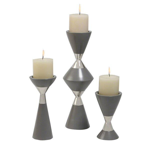 DwellStudio 3 Piece Hourglass Candlestick Set