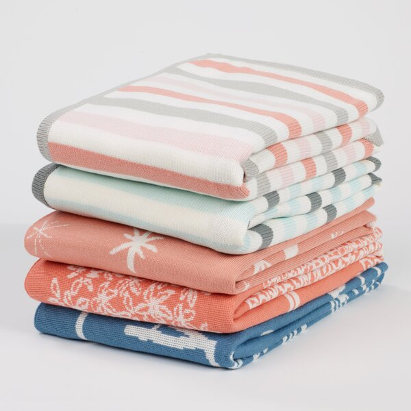 DwellStudio Robin's Egg Stripe Knit Blanket
