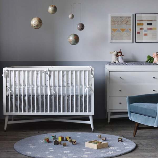 DwellStudio Galaxy Dove Percale Crib Skirt
