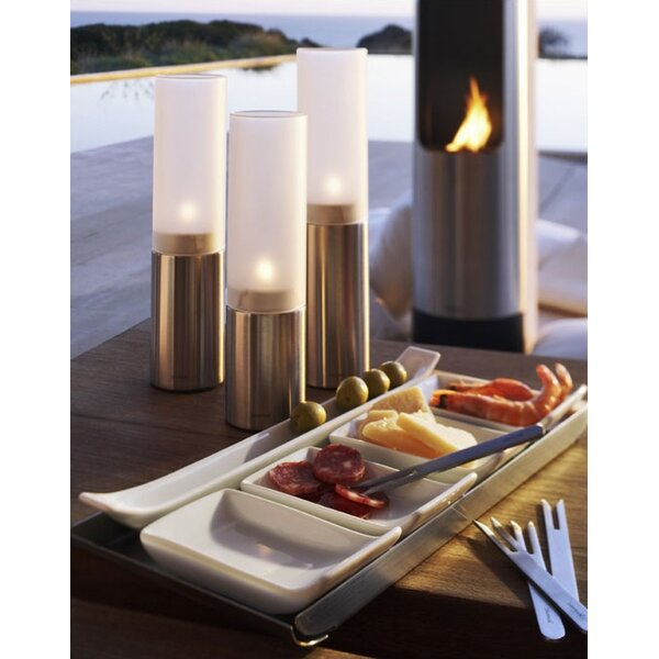 DwellStudio Faro Small Stainless Steel Frosted Glass Hurricane