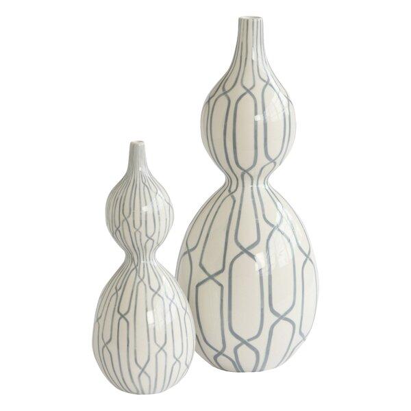 DwellStudio Linking Trellis Double Bulb Vase in Blue