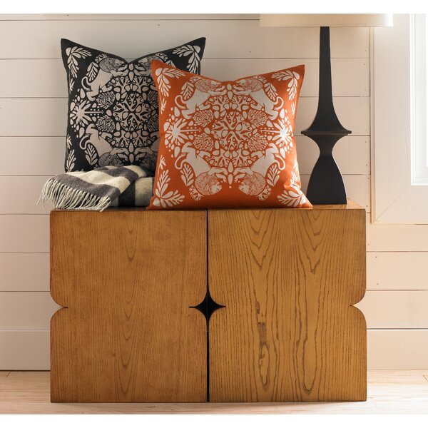 DwellStudio Lion Tangerine and Natural Pillow Cover