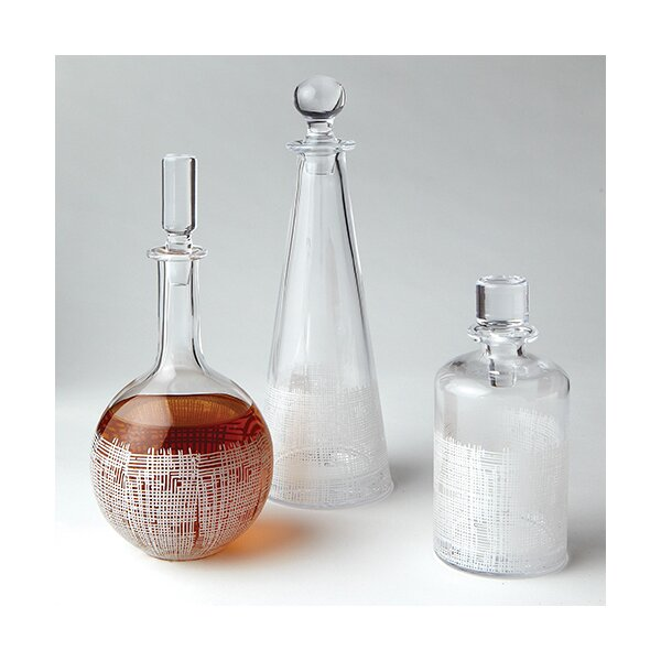 DwellStudio Crosshatch Cylinder White Decanter
