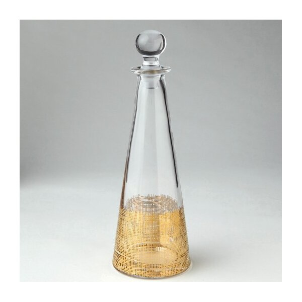 DwellStudio Crosshatch Cone Gold Decanter