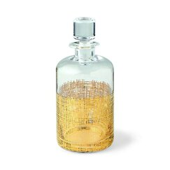 <strong></strong> Crosshatch Cylinder Gold Decanter