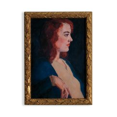 Vintage Lady Red Head Artwork