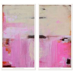 2 Piece Abstract Oceana Pink Diptych Set