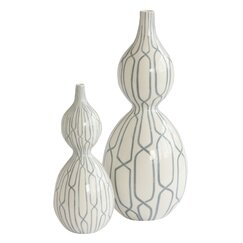 Linking Trellis Double Bulb Vase in Blue